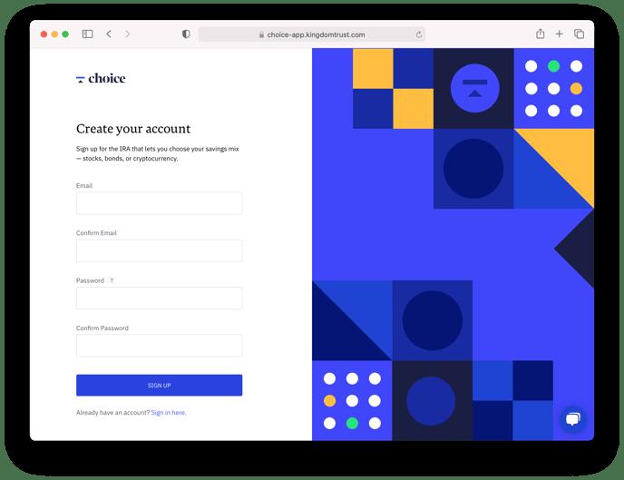 Choice - Create Your Account